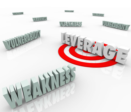 vulnerability: The word Leverage targeted with a bulls eye amid vulnerability and weakness to illustrate a competitive advantage or edge in negotiation and bargaining