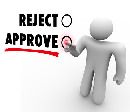 The words Approve and Reject on a voting touch screen, with a voter pressing a button for approval of a proposal or question Stock Photo - 22869503