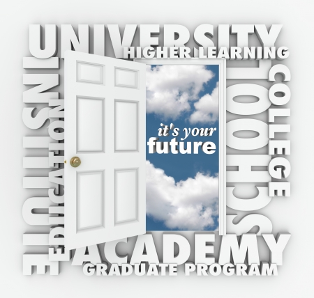 higher intelligence: A door opening to the words Its Your Future surrounded by terms such as college, university, school, institute, education, academy, graduate program and higher learning