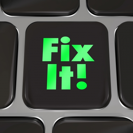 A black square computer key with words Fix It to offer advice, instructions or other helpful information to repair or maintain an internet website, car, or other machinery Stock Photo - 23173352