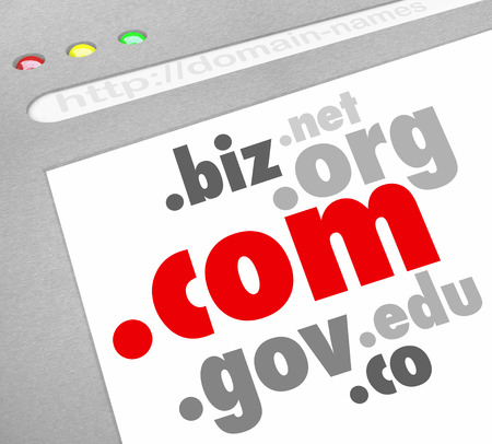 A website screen showing domain name address suffixes such as .com, .edu, .org, .info, .net, .biz and .co to illustrate options for registering your web url for your personal or business internet site Stock Photo - 23173453