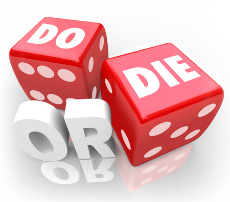 outcome: Two red dice with words Do or Die to illustrate an important decision, final outcome or ultimate result Stock Photo