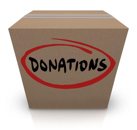 underprivileged: La parola Donazioni su una scatola di cartone per illustrare un cibo o vestiti in auto per le persone bisognose o senza fissa dimora o svantaggiati in povert� i paesi colpiti