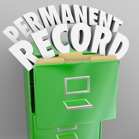 A file cabinet with door opening and the words Permanent Record coming out to illustrate files that will follow you around forever, with details on your personal life, career, education and criminal background Stock Photo - 23173978