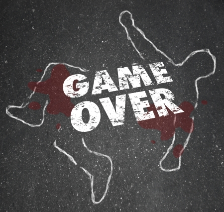 The words Game Over on a chalk outline of a dead body to illustrate that things are finished, done or complete and you have exhausted your options