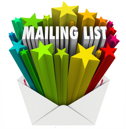 send mail: An open envelope with the words Mailing List to illustrate a file of customers, readers, subscribers or recipients for your marketing message or communication