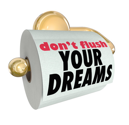wasting away: Dont Flush Your Dreams words on toilet paper roll to illustrate the importance of following your hopes and not dashing your plans by making a bad decision