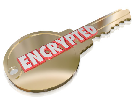 The word Encrypted on a gold key to illustrate computer network cyber crime prevention and security encoding algorithms using information technology techniques to guard against hacking Stock Photo - 23176597