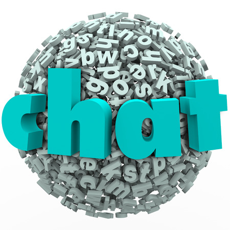discussing: The word Chat on a ball or sphere of 3d letters to illusrate chatting, talking, discussing or sharing instant messages in forums or websites