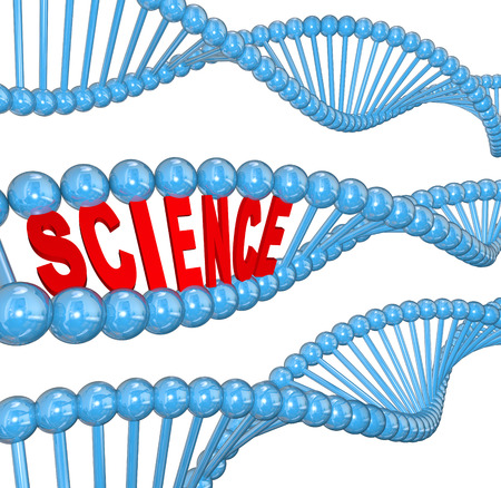 The word Science in a DNA strand to illustrate education and learning of biology and heredity Imagens