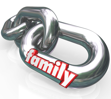 descendants: The word Family on silver metal chain links to illustrate close relationships between related people such as spouses, parents, children and other ancestors or descendants Stock Photo