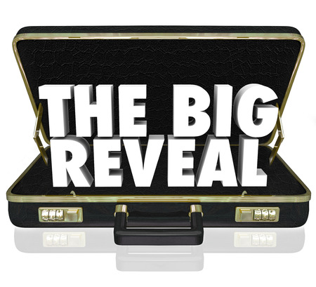 unveil: A black leather briefcase with words The Big Reveal inside as a surprise or shocking discovery being shared or presented with an audience or customer