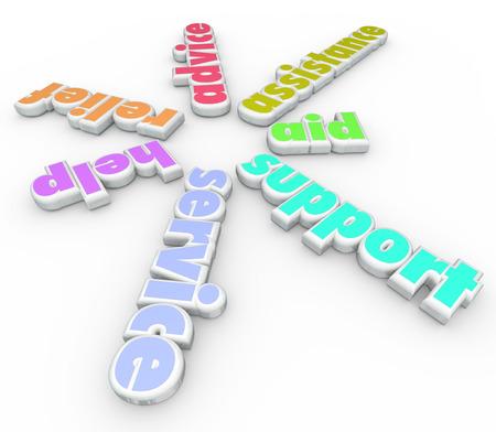 generoso: Las palabras de apoyo, servicio, ayuda, alivio, ayuda, asesoramiento y asistencia en letras 3d en forma de espiral para ilustrar ayudar y apoyar a los necesitados a través del voluntariado o de consultoría
