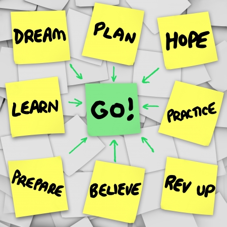 rev: Go written on sticky note in center of bulletin board covered in papers marked dream, learn, prepare, practice, plan, believe, hope, and rev up Stock Photo