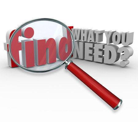 requiring: The question Find What You Need? and magnifying glass searching or researching for desired information or data Stock Photo