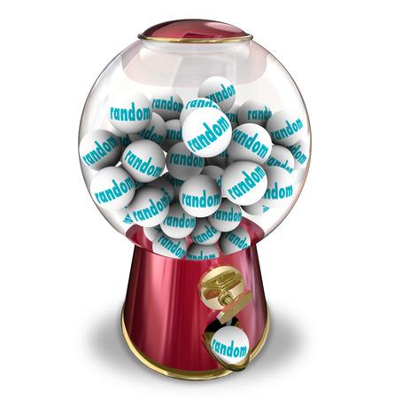arbitrario: Selección aleatoria de una máquina de chicles o caramelos dispensador que ilustra los imprevistos, probabilidades indiscriminados de ganar la lotería o ser elegido para un premio, trabajo o jackpot