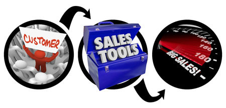 business pitch: A diagram of three circles showing a customer in a crowd, a toolbox of sales tools and a speedometer with words Big Sales to illustrate successful impelementation of selling tactics and techniques Stock Photo