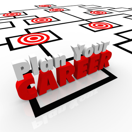 advancement: Plan Your Career on an organization chart to illustrate the importance of envisioning your goal or mission in a job, targeting promotion opportunities and chance for advancement Stock Photo