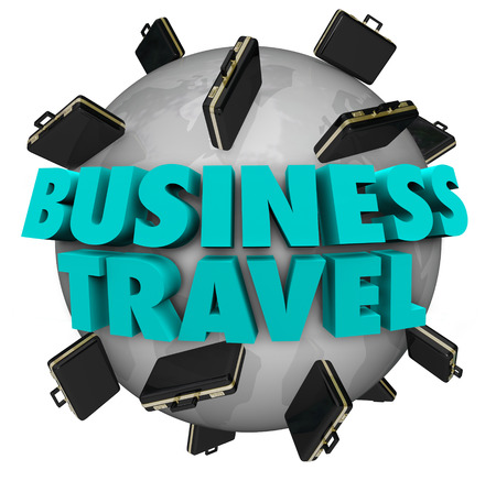 spread around: Business Travel words around world and black leather briefcases to illustrate companies spreading across Earth and growing with international growth