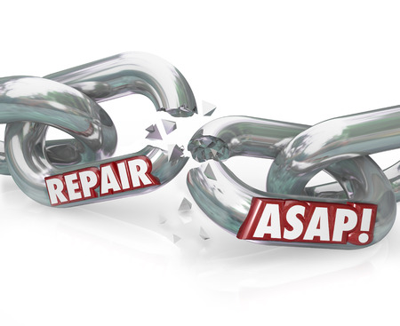 critical conditions: The words Repair ASAP on breaking metal chain links to illustrate the need to fix a damaged or dysfunctional item