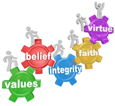 succeeding: Several people walking or marching up gears with the words Values, Belief, Integrity, Faith and Virtue to illustrate the qualities or characteristics of living a faith filled or religious life