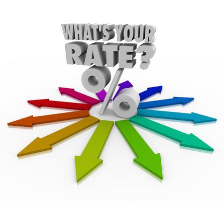 Taux d'intérêt ou d'investissement retour pour cent symbole de signe de flèches colorées pointant dans des directions différentes avec les mots Quel est votre taux en lettres 3D pour vous demander si vous avez trouvé la meilleure option de pourcentage sur le marché fincancial Banque d'images - 23456360
