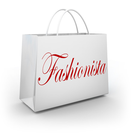 obsession: Fashionista word on a paper shopping bag illustrating a person who is an expert in fashion, style, clothes and accessories