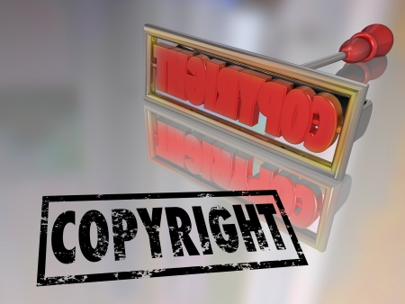 copyrighted: Copyright branding iron to protect your service mark, trademark notice that your company or product is legally protected from copying by other businesses