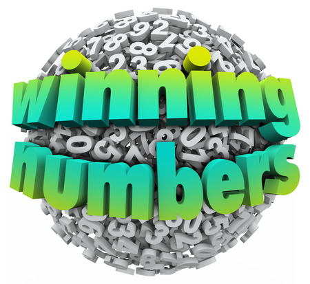loteria: Números ganadores bola de la esfera dígitos que muestra un bote de la lotería u otro premio o recompensa sorteos Foto de archivo