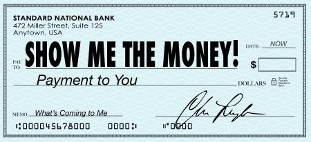 De woorden Show Me the Money op een cheque naar uw inkomsten, loon, provisie, loon of andere vorm van een geldelijke vergoeding voor het werk, winsten of verrekening te illustreren in een financiële kwestie Stockfoto