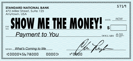 paid: The words Show Me the Money on a check to illustrate your earnings, wages, commission, pay or other form of monetary compensation for work, winnings or settlement in a financial matter Stock Photo