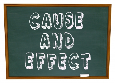 cause: Cause and Effect words drawn or written on chalk board in school or training lesson to illustrate or educate on the results, reaction or response to an action or effort, such as a science experiment Stock Photo