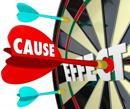 cause: Cause and Effect dart board to illustrate a reaction, response or result of your action or efforts, such as winning a game or competition