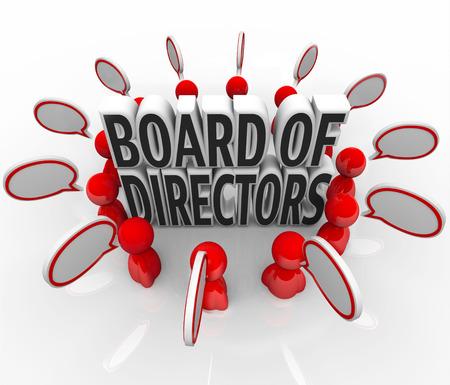 Consiglio di Amministrazione incontrare persone con bolle di discorso in una discussione su una società di direzione, la leadership del top manager parlando delle finalità e gli obiettivi per l'organizzazione
