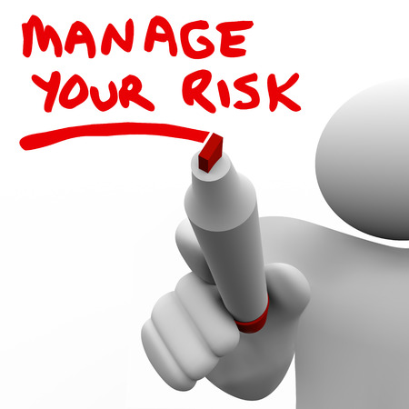 review: Manage Your Risks words written by a manager or other person to encourage you to consider potential negative outcomes or results of your work, project or action... be careful! Stock Photo