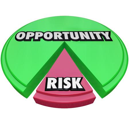 risiko: Chancen-und Risikobericht Worte auf einem gr�nen und roten Tortendiagramm zu veranschaulichen, eine kleine Menge der Vorsicht oder negative Ergebnis, das eine Gefahr f�r ein Projekt oder eine Initiative f�r Wachstum sein kann Lizenzfreie Bilder