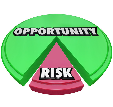 managing: Opportunity and Risk words on a green and red pie chart to illustrate a small amount of caution or negative outcome that may be a danger on a project or initiative for growth Stock Photo