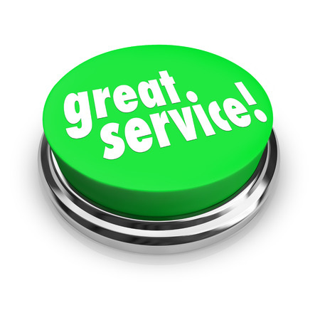 excellent: Great Service words on a round green button to illustrate a review, feedback, response or comment on the level of assistance, support or help received from a company or business representative