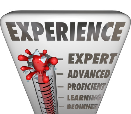 beginner: Experience measured by a thermometer or gauge evaluating a professionals level of expertise, from expert, advanced, proficient, learning to beginner