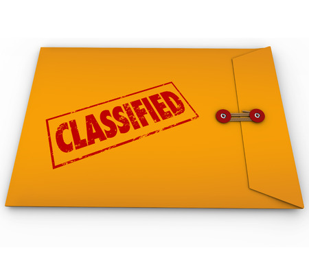 surprising: Classified information, plans, secrets or data in a yellow envelope sealed shut and stamped with the word to illustrate it is private or confidential and only for people with clearance to read Stock Photo
