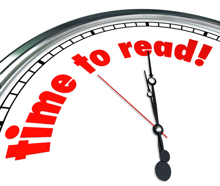 comprehension: Time to Read words on a white clock face illustrating the importance of reading to learn and in school, education or training as a way to develop imagination and comprehension Stock Photo