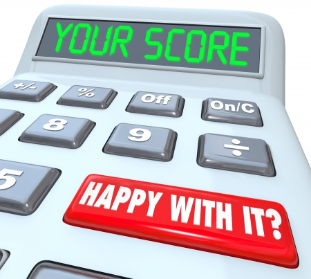 financial report: Your Score on a calculator to illustrate your credit rating, performance review, or other mathematic result as feedback on how you have increased or improved toward achieving a goal