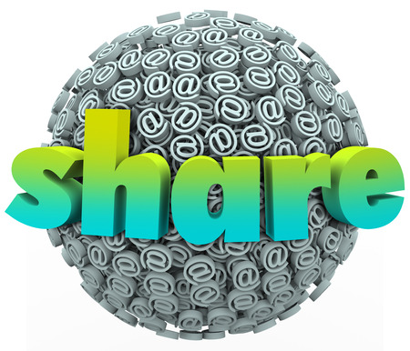 testify: Share word on a ball or sphere of email symbols to communicate your feedback, opinion, comments or concerns about your customer experience or suggestions for improvement Stock Photo