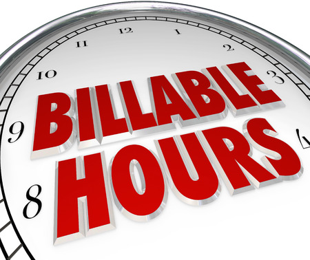 billing: Billable Hours words on clock face to illustrate time keeping and tracking working minutes and days per a contract or agreement with a lawyer, consultant or other professional contractual employee or worker