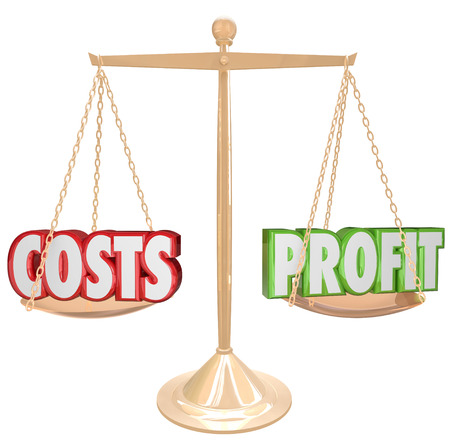 comparing: Costs and Profits words on a gold scale to illustrate the importance of balancing a budget and increasing profits to keep your business revenue growing