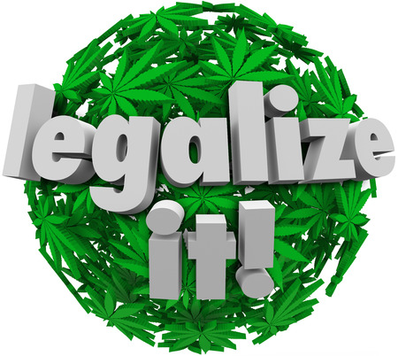 legalize: Marijuana leaves in a sphere or ball with words Legalize It to encourage voters or government politicians to vote to approve legalizing cannibus, pot, weed or dope for medical or recreational use Stock Photo