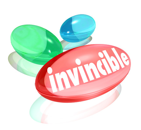 stronger: Invincible word on three vitamins to illustrate stronger power and energy boost you get from a natural supplement or healthy medication to make you feel improved stamina and winning attitude Stock Photo