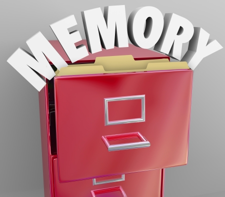 retrieve: Recalling memories by pulling files from a filing cabinet, an illustration or symbol of the brains ability to store and retrieve memory like documents from an organized set of experiences Stock Photo
