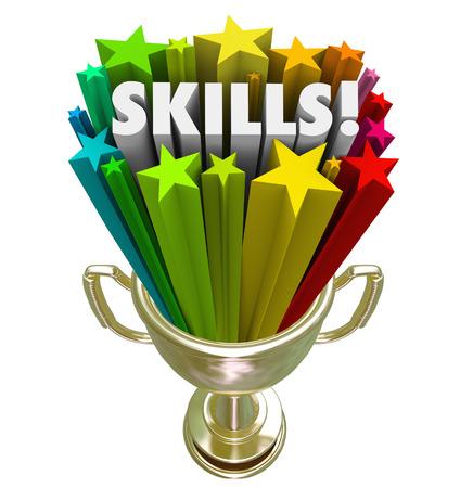 skillset: Skills word in gold trophy illustrating you have the best skillset, experience or knowledge needed for a game, competition, job, or work opportunity