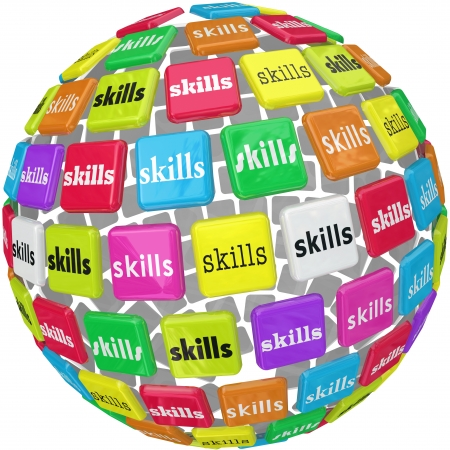 Skills word on a ball or sphere to illustrate the many different skillsets, knowledge, experience and training needed for a new job to be shown on your resume and presented in an interview photo